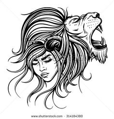 Vector Black and White Lion Woman Illustration