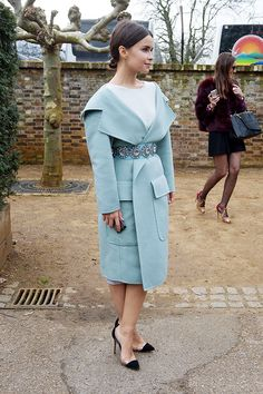 MD of the bottomless suitcase. Aces in robin's egg blue. #MiroslavaDuma #LFW