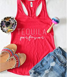 Etsy Cinco De Mayo, Tequila Por Favor Fitted Racerback Tank Top, XS-2XL, Bachelorette Party Shirts, Gift