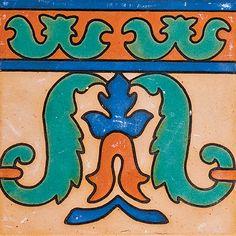 "#103 Italian Leaf Ceramic Border, Color Way B, 6X6"""