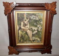 The Vintage Village - View Classified - Native American Indian Maiden Tinted Photo Print in Carved Wood