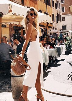 Braless beauty: Natasha Oakley (pictured) swapped her bikini-clad style for a silk white dress as she flaunted plenty of sideboob during a sunny trip to Rome, Italy on Thursday Natasha Oakley, Look Fashion, Fashion Outfits, Womens Fashion, Fashion Trends, Fashion Clothes, Fashion Weeks, Fall Fashion, Fashion Tips
