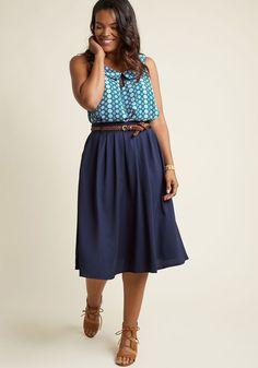 Breathtaking Tiger Lilies Midi Skirt in Navy