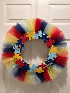 Customizable Autism Awareness Tulle Wreath [Sample Only] – Spring Wreath İdeas. Christmas Mesh Wreaths, Prim Christmas, Deco Mesh Wreaths, Winter Wreaths, Floral Wreaths, Burlap Wreaths, Ribbon Wreaths, Door Wreaths, Tulle Crafts