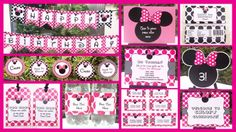 Printables for Eliza's party Minnie Birthday, Mickey Minnie Mouse, 2nd Birthday Parties, Birthday Party Decorations, Birthday Ideas, Diy Party Packs, Race Car Party, Mouse Parties, Bow