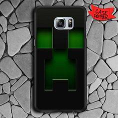 Black Creeper Face Minecraft Samsung Galaxy S6 Edge Plus Black Case