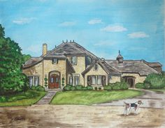 House painting Custom watercolor portrait by HarvestmoonFarm