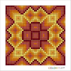 Autumn Star 2 Bargello Patterns, Bargello Needlepoint, Crochet Blanket Patterns, Tribal Patterns, Graphic Patterns, Beading Patterns, Crafts To Do, Hobbies And Crafts, Watercolor Quilt