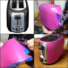 Pink Kitchen Episode 2: Toaster | Used PlastiDip Türkiye Pink and pearlizer to create a pink pearl finish on our toaster.