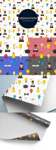 Graduation free vector seamless pattern. Free Vector Patterns, Adobe Illustrator, Vector Art, Balloons, Graduation, Concept, Illustration, Globes, Illustrations