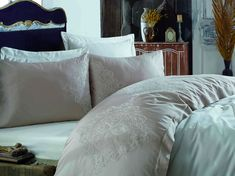 Exclusive Lenjerie de Pat Bumbac Satin Double - Hanzade Bed Pillows, Pillow Cases, Satin, Furniture, Home Decor, Pillows, Decoration Home, Room Decor, Elastic Satin
