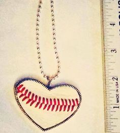 Football Softball and Baseball Heart Pendant with real sports balls used. on Etsy, $25.00