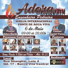 Banner de Divulgação Igreja Internacional Fonte de Água Viva  Evento: Adora - Engenheiro Pedreira