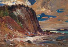 Rene Richard - Shoreline Landscape x Oil on board Canadian Painters, Oil, Landscape, Board, Painting, Fine Art Paintings, Scenery, Painting Art, Landscape Paintings