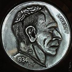 Keith Pedersen - Frankenzombie Hobo Nickel, Coin Art, Money Talks, Buffalo, Coins, Carving, Change, Wood, Rooms