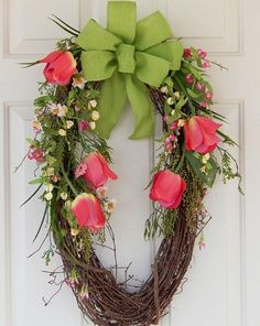 Grapevine Wreath, Tulips, Burlap Bow, Flowers, Easter, Mother's Day