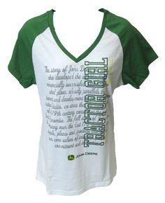 John Deere Tractor Girl Print on Raglan S/S Tee Shirt