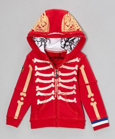 Take a look at this Red Bones Zip-Up Hoodie - Infant, Toddler & Boys by Mini Shatsu on #zulily today!