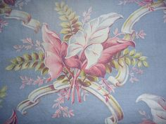 Vtg Mid Century Gray Pink Tropical Botanical Print Cotton Fabric Curtain Panels