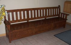 Mission style bench with storage underneath