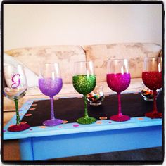 Glitter wine glasses! Created by me!