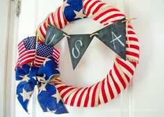 4th of July Wreath Ilove the 4th of July! Its an important holiday and itsone of my favorite holidays of the year. So even though my craft room is still literally boxed up from our move 2 weeks ago, I still had to bust out a patriotic 4th