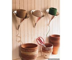 Twine and funnels are an integral part of smooth kitchen operation. That said, you don't need them day in and day out, so this storage method is a great tip for a small space.