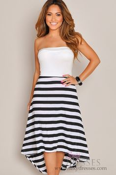 Strapless White Top Stripes High Low Maxi Dress | Could make this with a white tank top and fabric