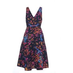 Saloni Jess floral-print textured-crepe dress (396.415 CLP) ❤ liked on Polyvore featuring dresses, black multi, print dress, holiday dresses, fit and flare dress, special occasion dresses and floral dress