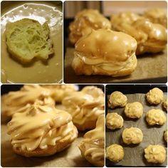 KARAMELOVÉ VĚTRNÍKY Na těsto: 300 ml vody 125 ml oleje špetka soli 250 g hladké mouky 6 vajec Vanilkový krém: 500 ml mléka 100 g moučkového cukru 1 a 1/2 sáčku vanilkového pudinku 100 ml smetany ke šlehání (zašlehat do puniku) Karamelová náplň a poleva: 250 cukru (zkaramelizovat) přilít 750 ml smetany ke šlehání - nechat vychladnout do druhého dne v lednici