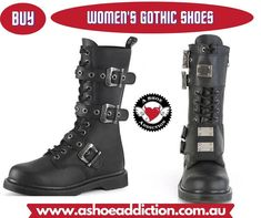 Before you purchase the one, you must surely explore the wide range of spellbinding colors. The collection of sexy gothic shoes is undoubtedly eye-catching.  Check out our new products and discounts on gothic shoes and boots for women! Shop online and have your order shipped anywhere in Australia in free. Visit us now! Womens Gothic Boots, Gothic Shoes, Boots Online, Combat Boots, Range, Australia, Explore, Eye, Stylish