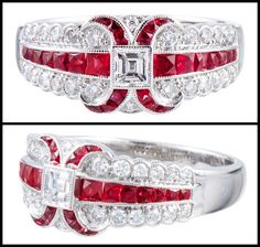 "Art Deco Style ""Lucie Campbell, London"" Diamond and Ruby Ring in Platinum. Immaculately detailed ring, conceived in the classic art deco sty..."