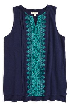 Free shipping and returns on Tucker + Tate Embroidered Tank (Big Girls) at Nordstrom.com. Elaborate embroidery adds plenty of vintage charm to a flowing, split-neck tank top made from soft, slubbed cotton.