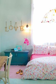 Grey and teal teen bedroom ideas for girls kids room, teen girl room Teen Girl Rooms, Little Girl Rooms, Teen Bedroom, Home Bedroom, Bedroom Decor, Bedroom Ideas, Floral Bedroom, Floral Bedding, Bedroom Curtains