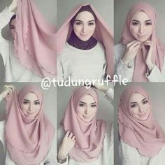 Tudung Ruffle Square Hijab Tutorial, Simple Hijab Tutorial, Hijab Style Tutorial, Stylish Hijab, Hijab Casual, Hijab Chic, Hijabi Girl, Girl Hijab, Hijab Outfit
