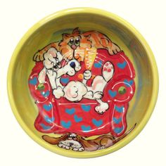 Pussykins and Poodle Poof Dog Bowl