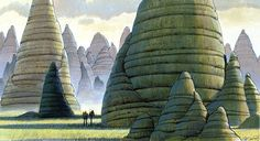 ANH: This Ralph McQuarrie concept painting depicts the Killik Mounds of Alderaan.  The abandoned, petrified mounds of the extinct insectoid Killiks were among the most intriguing natural objects on Alderaan, rising from the plains in smooth, organic-looking monoliths.