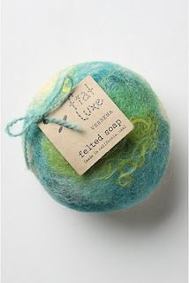 "DIY Felted Soap with how to make instructions.  Soap and ""washcloth"" in one."