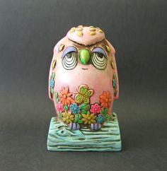 1960s Pink Funky Chalkware Sleepy Night Owl Bank by PaisleyzPark, $24.95
