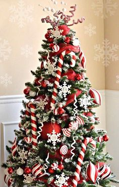 red and white candy cane christmas tree white christmas trees beautiful christmas trees