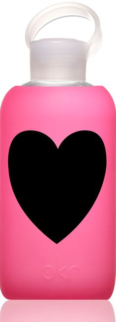 """Bkr (pronounced beaker) bottle. Limited edition glass bottle with silicone sleeve- some come with fun sayings, such as """"I just hearted"""" and  """"It'd be really nice if you had your shit together a little more."""" Also avail w/out heart."""