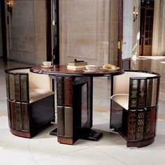 Book table with chairs.