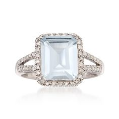 2.95 Carat Aquamarine and .25 ct. t.w. Diamond Ring in Sterling Silver | #776734 @ ross-simons.com