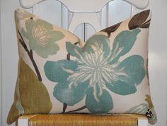 """Decorative Pillow Cover - 16"""" x 20"""" - Throw Pillow - Accent Pillow - Teal - Aqua Green - Brown - Tan - Lumbar Pillow. $46.00, via Etsy."""