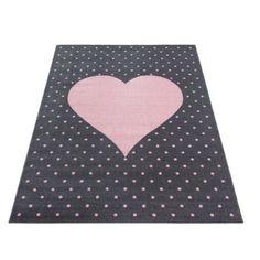 Sydän plyysimatto pinkki - Tuppu-Kaluste Pink And Grey Rug, Grey Rugs, Bambi, Rug Size, Playroom, Nursery, Kids Rugs, Stitch, Crafts