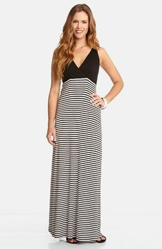 Karen Kane Stripe Skirt V-Neck Maxi Dress available at #Nordstrom