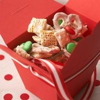 Holiday chex mix. Im calling it Reindeer Mix. Just made it for the kids school party. I added Craisins and no peanuts (allergy issue). Also, when the chocolate was stirred on the chex, I sprinkled one batch green and the other red. Tasted it and its very yummy with a mild vanilla sugar flavor. Super easy to make alone or with kids!