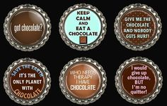 Chocolate Magnets Fridge Office  Bottle Caps Set of 6