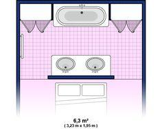 Plan de salle de bain : moyenne salle de bain 6.3m2. Un pan de mur en tête de lit