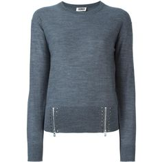 Sonia By Sonia Rykiel zipped studded detailing jumper ($290) ❤ liked on Polyvore featuring tops, sweaters, grey, zip sweater, grey jumper, zip jumper, studded top and jumpers sweaters